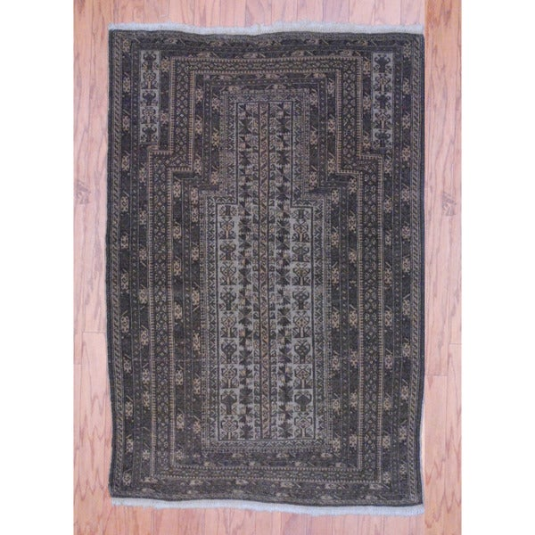 Herat Oriental Afghan Hand-knotted Tribal Balouchi Beige/ Light Brown Wool Rug (3'1 x 4'7)