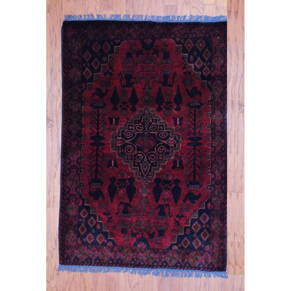 Afghan Hand-knotted Tribal Khal Mohammadi Red/ Navy Wool Rug (3'3 x 5')