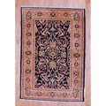 Afghan Hand-knotted Tribal Vegetable Dye Navy/ Peach Wool Rug (3'4 x 4'9)