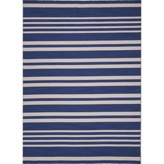 Handmade Flat Weave Stripe Blue Wool Rug (9' x 12')