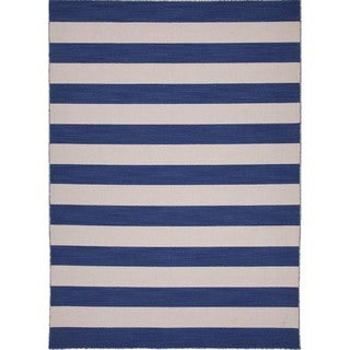 Handmade Flat Weave Stripe Blue Wool Runner (2'6 x 8')