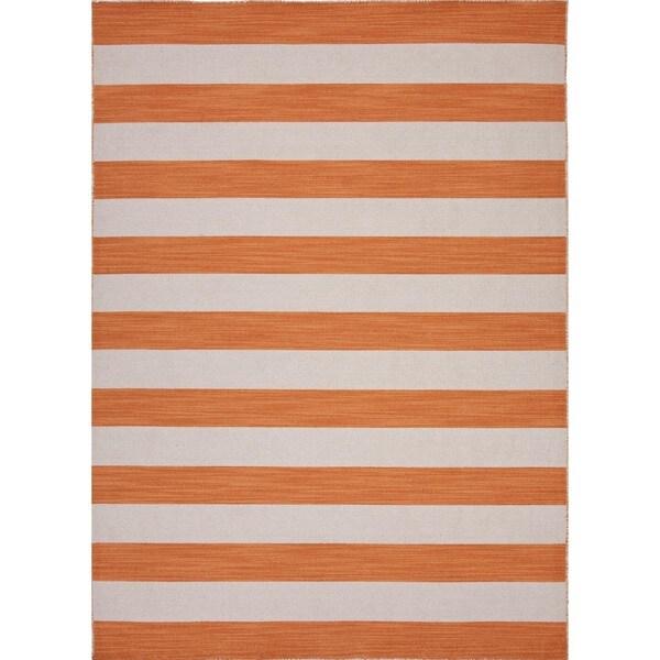 Flat Weave Stripe Red/ Orange Wool Rug (5' x 8')