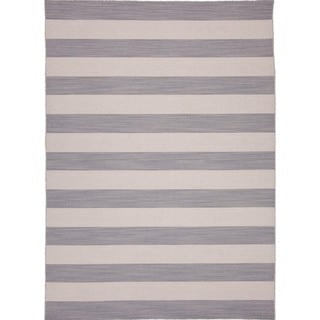 Flat Weave Stripe Gray/ Black Wool Rug (8' x 10')