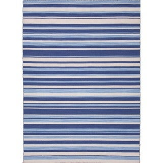 Flat Weave Stripe Blue Wool Durable Rug (2' x 3')