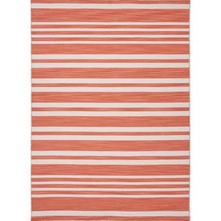 Flat Weave Stripe Red/ Orange Wool Area Rug (5' x 8')