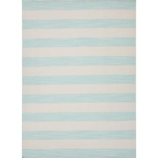 Flat Weave Stripe Blue Wool Rug (8' x 10')