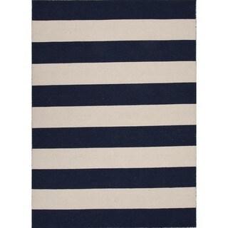 Flat Weave Medieval-Blue Stripe Wool Rug (5' x 8')
