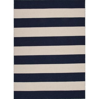 Flat Weave Stripe Blue Wool Rug (4' x 6')