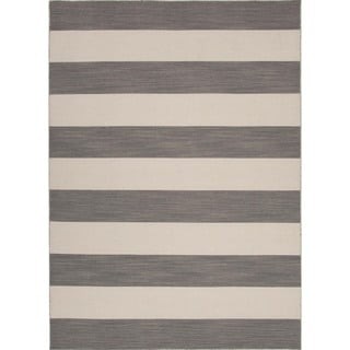 Flat Weave Stripe Gray/ Black Wool Rug (9' x 12')