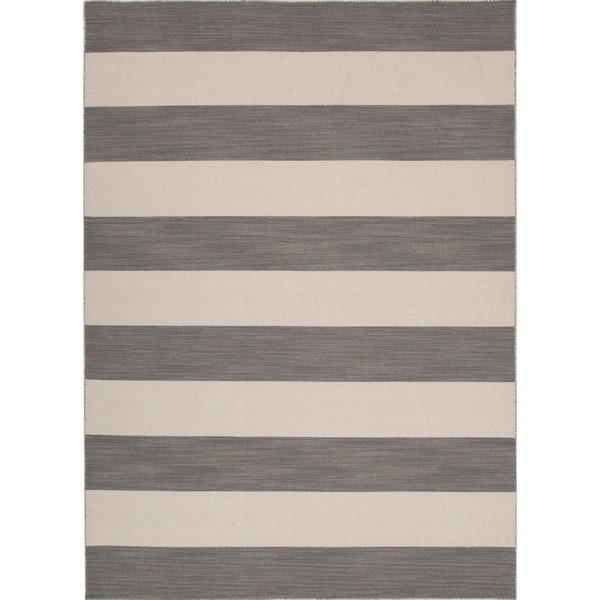 Flat Weave Stripe Gray/ Black Wool Rug (9' x 12')