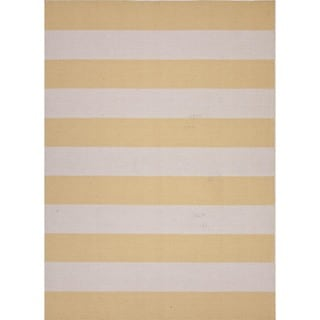 Flat Weave Stripe Gold/ Yellow Wool Rug (8' x 10')