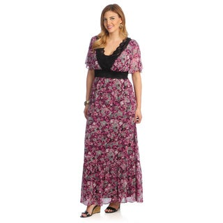 Kiyonna Women's 'Daydream' Plus Size Pink Floral Maxi Dress
