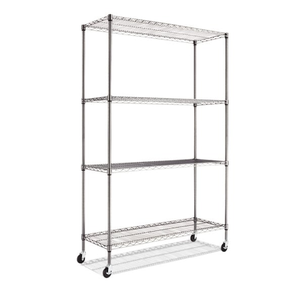 Alera Complete Black Antracite Wire Shelving 4-shelf Unit with Caster