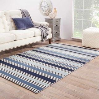 """Lancaster Handmade Stripe Blue/ White Area Rug - 8'10""""X11'9"""""""