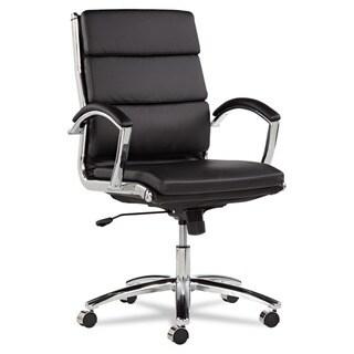 Alera Neratoli Black Faux Leather Chrome Frame Mid-back Swivel / Tilt Chair