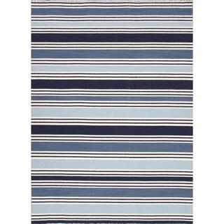 Flat-Weave Stripe Vanilla Ice Blue Wool Rug (4' x 6')