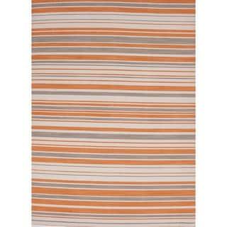 Flat-Weave Stripe Orange/Multicolor Wool Rug (9' x 12')