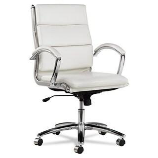 Alera Neratoli White Faux Leather Chrome Frame Mid-back Swivel / Tilt Chair