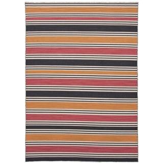 Flat-Weave Stripe Amber/Multicolor Wool Rug (9' x 12')