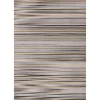 Flat-Weave Stripe Blue/Multicolor Wool Rug (9' x 12')
