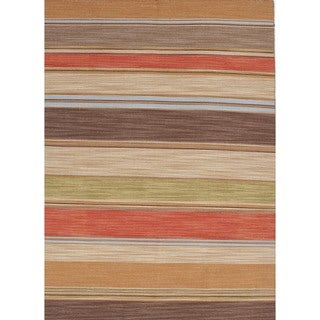 Flat Weave Stripe Multi Color Wool Rug (10' x 14')