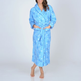 La Cera Women's Snowflake Print Flannel Wrap Robe