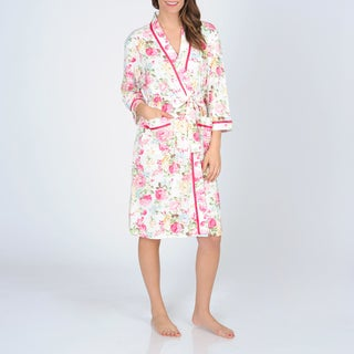 La Cera Women's Floral Printed Knit Wrap Robe
