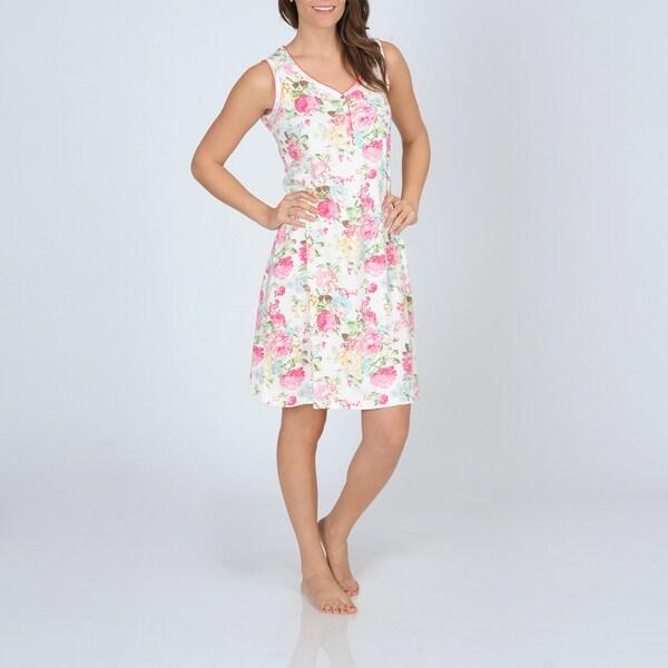 La Cera Women's Floral Print Knit Chemise
