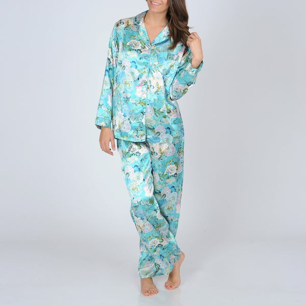 La Cera Women's Teal Floral Print Satin Pajama Set