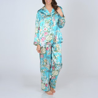 La Cera Women's Turquoise Floral Print Satin Pajama Set