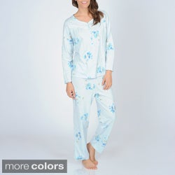 La Cera Women's Floral Knit Pajama Set