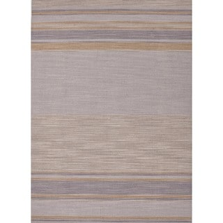 Flat-Weave Striped Ashwood/Multicolor Wool Rug (8' x 10')
