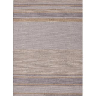 Flat Weave Stripe Multi Color Wool Rug (5' x 8') Ashwood