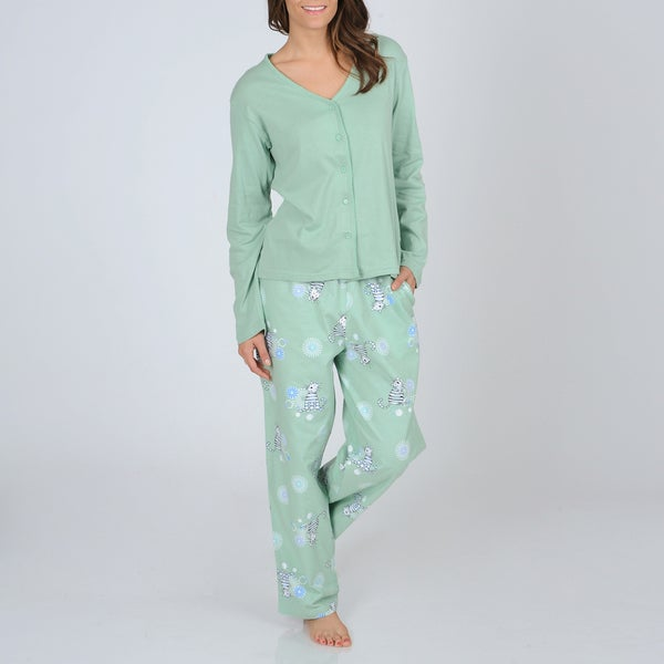 La Cera Women's Knit Top and Kitty Print Flannel Bottoms Pajama Set