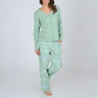 La Cera Women's Knit Top and Kitty Print Flannel Bottoms Pajama Set