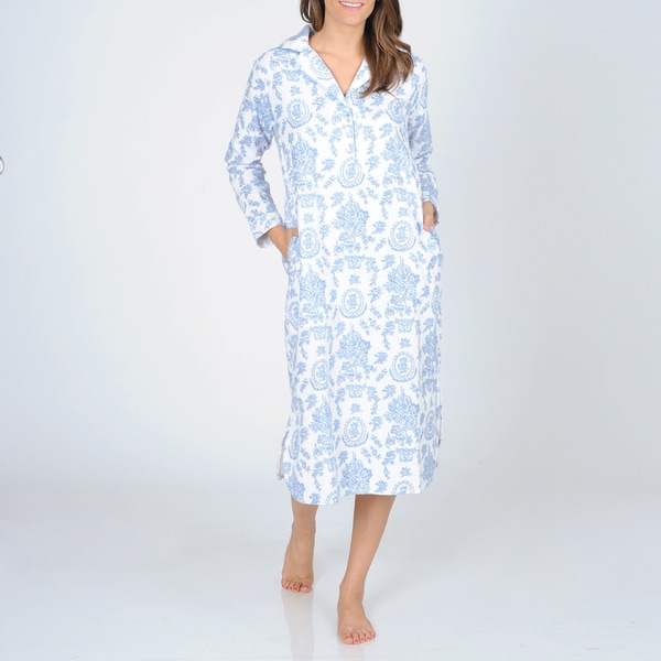 La Cera Women's Blue Floral Print Flannel Nightgown