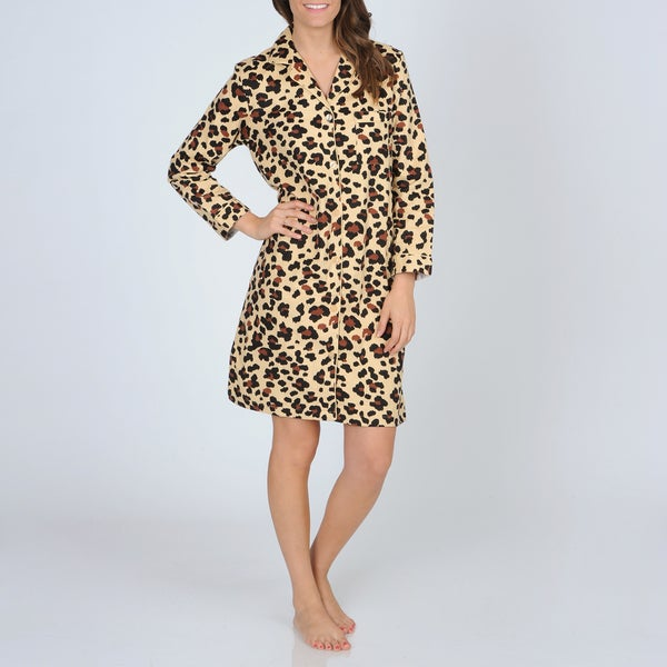 La Cera Women's Cheetah Print Cotton Flannel Night Shirt