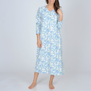La Cera Women's Mint Floral Print Flannel Nightgown