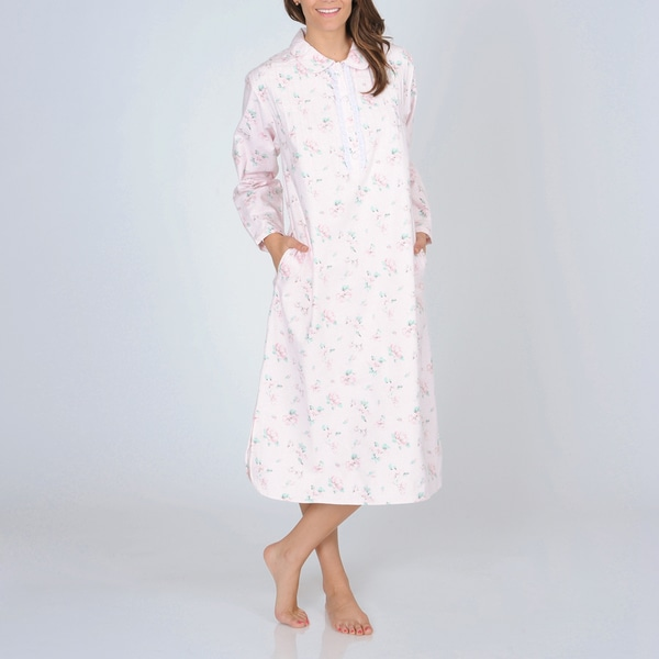 La Cera Women's Pink Floral Print Flannel Nightgown