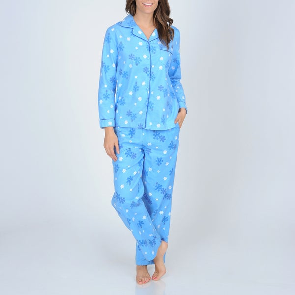 La Cera Women's Snowflake Print Flannel Pajama Set