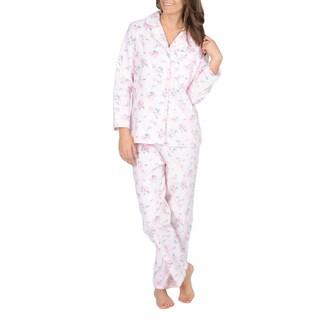 La Cera Women's Pink Floral Print Flannel Pajama Set