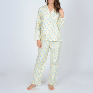 La Cera Women's Yellow Floral Print Flannel Pajama Set