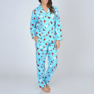 La Cera Women's Turquoise Snowman Print Flannel Pajama Set