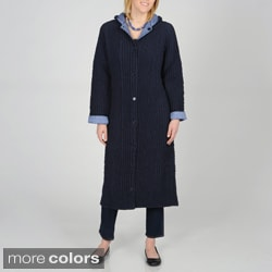 La Cera Women's Allover Puckered Reversible Long Coat