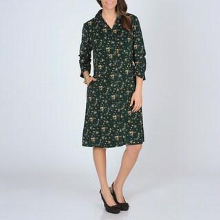 La Cera Women's Hunter Floral Print Corduroy Dress
