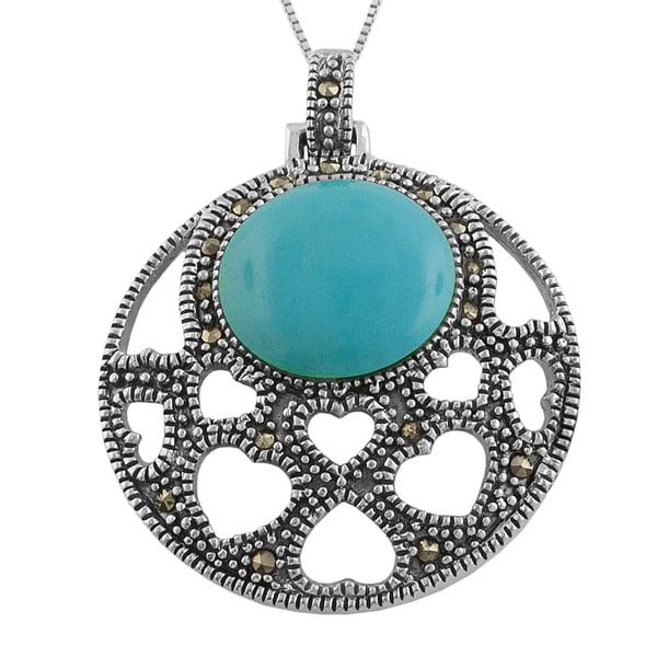 Fremada Sterling Silver Round Turquoise and Marcasite Heart Cut-out Necklace