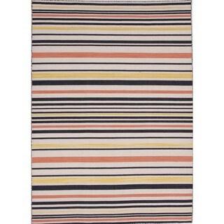 Flat-Weave Stripe Ebony/Multicolor Wool Rug (9' x 12')