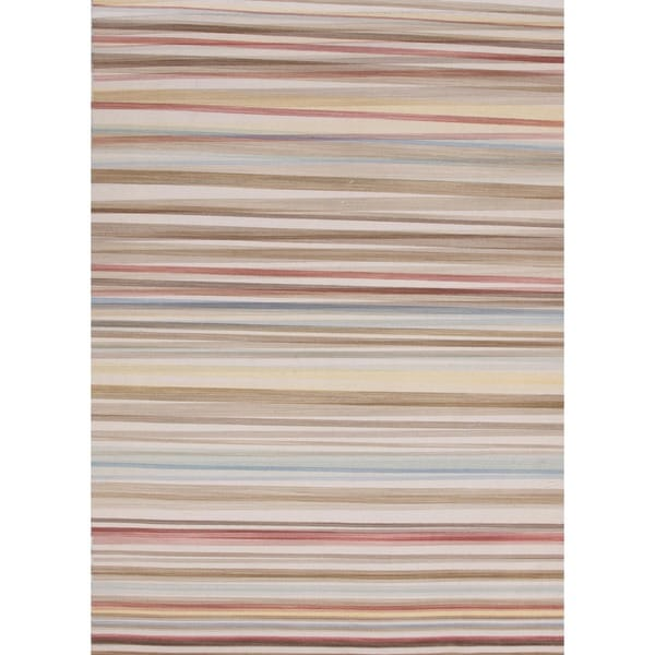 Flat Weave Stripe Multicolor Wool Reversible Rug (10' x 14')