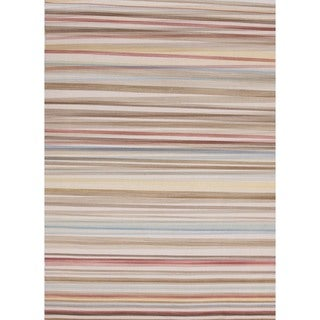 Flat-Weave Striped Celestial-Blue/Multicolor Wool Rug (8' x 10')
