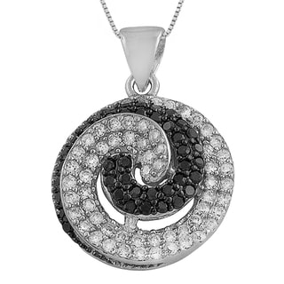 Fremada Sterling Silver Black and White Cubic Zirconia 18-inch Swirl Necklace